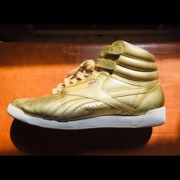 Throwback Reebok Hi Top GOLD Sneakers
